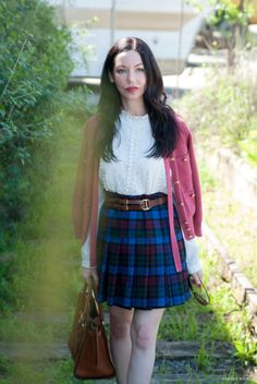 Tommy Hilfiger Collection Skirt, Goodnight Macaroon Lace Blouse, Juicy Couture Sweater, Michael Kors Satchel, Los Angeles Fashion Blogger, Pretty Little Shoppers Blog