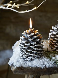 Snowy Pine Cone Candle | Christmas at Cox & Cox