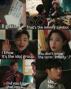 Kwon Si Hyun and Lee Se Joo don't know the term infinity 😂😂😂😂😂😂😂 Korean Drama Funny, Korean Drama Quotes, Korean Drama Movies, Korean Actors, Hyun Soo, Do Bong Soon, Weightlifting Fairy Kim Bok Joo, Kdrama Memes, Kim Min