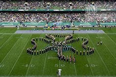 Members of the Notre Dame Marching Band form a cloverleaf during halftime of the 2012 Emerald Isle Classic against Navy at Aviva Stadium in Dublin, Ireland. Photo by Barbara Johnston/University of Notre Dame Notre Dame Indiana, Notre Dame Irish, Irish Fans, Go Irish, Emerald Isle Ireland, Noter Dame, Marching Band Humor, Notre Dame Football, Fighting Irish