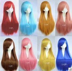libre de envío barato 80 cm larga lolita las mujeres recto pelucas del partido de anime cosplay pelucas muchos colores pelucas para l...