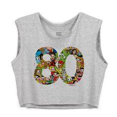 Blusa Cropped Maurício de Souza 80 Anos Logo #TurmadaMônica #MauríciodeSouza