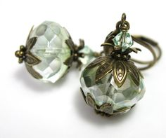 Chrysolite Green Czech Glass Swarovski Vintage Style Earrings, Antiqued Brass Jewelry, For Her, Fashion Accessories, Affordable Jewelry