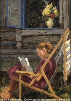 By the Window (1959) Artist unknown / unlisted © Springville Art Museum, Utah, USA via their site. Fine art prints available: http://smofa.org/collections/giclee.html [Do not remove caption. The law requires you to credit the Museum / Copyright Holder. Pin/Link directly to their website.] Support our MUSEUMS (where funding is often iffy).  PINTEREST on COPYRIGHT:  http://pinterest.com/pin/86975836526856889/ The Golden Rule: http://pinterest.com/pin/86975836525355452/