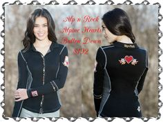 Alp n Rock Alpine Hearts Button Down:  Wear your heart on your sleeve with the edgy button down beauty. Alp n Rock's luscious Supima cotton/poly blend will keep you cozy whether on a fall walk or the board room.  Available size 1-3