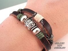 Owl charm bracelet silver owl bead leather bracelet