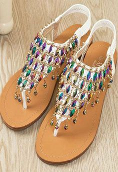 a866bbf0fc86bb Unique Color Rhinestone Flat Sandals from styleonline
