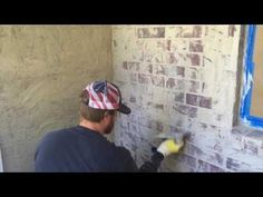Video tutorial on how to whitewash a brick fireplace and give it that distressed finish; a very shabby chic finish. Very light, painted brick for a more neut. German Smear Technique, Fireplace Update, Fireplace Makeovers, Diy Fireplace, White Wash Brick, House Ideas, Exterior Remodel, Exterior Paint, Exterior Houses
