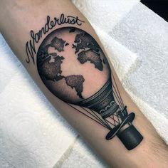 Mens Hot Air Ballon Globe Wanderlust Inner Forearm Tattoo