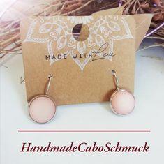 12mm Cabochon Ohrringe Polaris Matt rosa/lachsfarben Hänger oder Stecker, Edelstahl oder Bronze