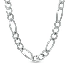 "Men's 14K White Gold 6.0mm Figaro Chain Necklace - 24"""