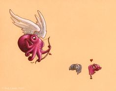 The cute girly octopus was just going about her business; it was part of her job to go get that computer upgrade. The shark technician was cute and competent and kept asking her to lunch. She was a...