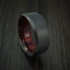 Black Zirconium and Red Heart Wood Hard Wood Sleeve Ring Custom Made Wedding Ring For Him, Unique Wedding Bands, Wedding Rings, Wedding Ideas, Wedding Stuff, Ring Boy, Leaf Engagement Ring, Thumb Rings, Black Rings