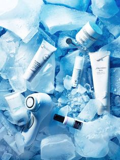 Beauty in ICI Paris Magazine Photography by Frank Brandwijk I 'Beauty Products on Ice' 'Skincare Blue Cold' 'Winter'