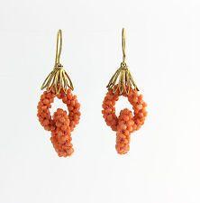 Krásná klasická ruční práce Coral houpat 18k žluté zlato náušnice Propíchnuté