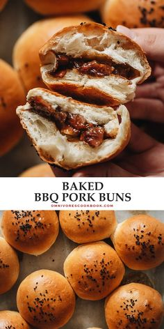 Baked BBQ Pork Buns (Char Siu Bao) | Omnivore's Cookbook Supper Recipes, Lamb Recipes, Sausage Recipes, Meat Recipes, Asian Recipes, Best Pork Recipe, Pork Buns, Pastry And Bakery, Bbq Pork