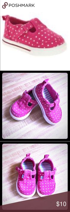 "🎉HP🎉 Pink & White Polka Dot Canvas Sneakers 🎉 HOST PICK 🎉 6.25.17 🍭 ""EVERYTHING KIDS PARTY"" 🎉 💕Pink & White PolkaDot Velcro Canvas Sneakers • Rubber soles so baby doesn't slip & fall • Easy to get on & off w/ Velcro going through the loop closure • I cleaned these very well & they look great! Worn in some areas, as seen in photos, but still in Very GOOD CONDITION!!! 💕💕 (I will be adding photos of the bottoms soon) ➡️NOTE: 1st photo is a stock photo - the rest are my photos. Toddler…"