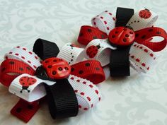 LADYBUGS  Set of 2 Flower Loop Hair Bow Clips  by lilprincessbow, $8.50