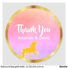 Unicorn in faux gold violet pink Thank You Classic Round Sticker