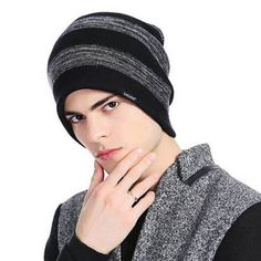 Black striped knit beanie hat for men sided wear warm winter knit hats Mens Knit Beanie, Beanie Hats, Winter Knit Hats, Travel Wear, Hat For Man, Mens Caps, Striped Knit, Black Stripes, Ski