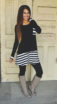 Dottie Couture Boutique - Black Striped Pocket Tunic, $29.00 (http://www.dottiecouture.com/black-striped-pocket-tunic/)