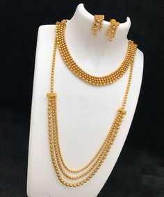 Antique Gold Finish Light Weight Long and Short Necklace Bollywood Women Jewelry Gold Chain Design, Gold Bangles Design, Gold Earrings Designs, Gold Jewellery Design, Necklace Designs, Fancy Jewellery, Gold Designs, Temple Jewellery, Mens Gold Jewelry