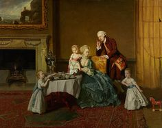 John, Fourteenth Lord Willoughby de Broke, and his Family c. 1766, by Johann Zoffany. John Peyto, 14th Lord Willoughby de Broke, and his wife, Lady Louisa North, appear about to take tea with their three young children. She holds her daughter, who stands on the table attempting a first step. One son enters on the right pulling a bright red toy horse. Another son attempts to take a piece of buttered bread from the table while receiving an admonishing gesture from his father.  (Getty Museum)