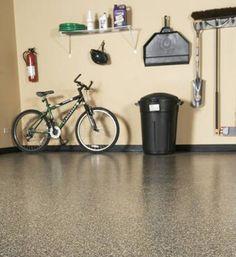 Make your garage look clean and organized with epoxy flooring. www.acousticremov Make your garage look clean and organized with epoxy flooring. www. Epoxy Floor Basement, Garage Boden, Clean Garage, Organized Garage, Diy Garden Decor, Illinois, Home Improvement, Flooring, Cement Floors