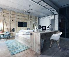Schlafzimmer aus Holz - Bett und Schreibtisch sind ein gemeinsames Möbelstück