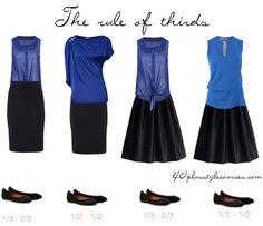 ruleofthirdsskirts The first example on the left is the classic outfit of a pencil skirt and a top. For many women that creates a nice 1/3 – 2/3 silhouette. But if your legs are very short, you may either need to have your waist higher or make your skirt slightly longer. Many short people prefer to wear skirt or a column of color to elongate their frame.  The second left look is more boxier and tends to split you in half.  he third look is similar to look one, but the skirt is slightly…