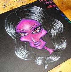 Prismacolor pencils on black paper. #art #Journal