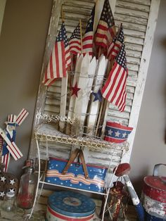 How to Decorate with an Americana Theme Fourth Of July Decor, 4th Of July Decorations, July 4th, Vintage Booth Display, Hot Dog Bar, Happy Birthday America, Happy 4 Of July, Porch Decorating, Red White Blue