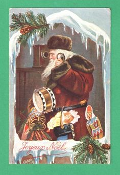 VINTAGE TUCK CHRISTMAS POSTCARD SANTA CLAUS OLD WALL PHONE TOYS SNOW PINE CONES