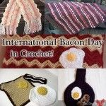 The Saturday before US Labor Day has been informally designated as International Bacon Day! To celebrate, here are a few free crochet bacon treats! Plaid Crochet, Crochet Round, Love Crochet, Crochet Edging Patterns, Crochet Pillow Pattern, Moogly Crochet, Crochet Afghans, Bacon Day, Harry Potter Crochet