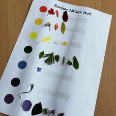 Rainbow Nature Hunt: Free printable for children to make a rainbow nature hunt. Use with strips of double sided tape so children can just stick what they find on to it.