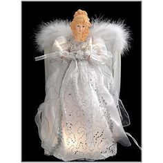White And Silver Angel Lighted Tree Topper