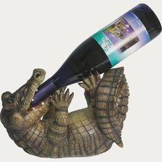 River's Edge Alligator Wine or Liquor Bottle Holder Hand Painted Poly Resin