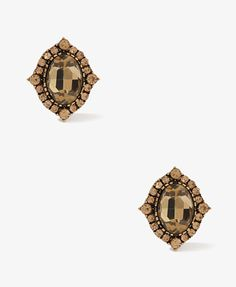 Pointed Framed Oval Studs, $5.80, #Forever21