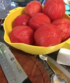 Here is my blog post about making my own, fresh tomato soup. First the skins are taken off the tomatoes... #homemadetomatosoup #tomatosouprecipe #peelingtomatoskin #homemadesoup