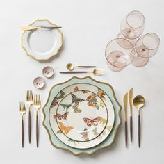 RENT: Anna Weatherley Chargers in Aqua Sky/Gold Anna Weatherley Dinnerware in White/Gold MacKenzie-Childs Butterfly Garden Collection Goa Flatware in Brushed Gold/Wood Bella Gold Rimmed Stemware in Blush Pink Enamel Salt Cellars Tiny Gold Spoons SHOP: Wedding Place Settings, Beautiful Table Settings, Gold Wood, Table Arrangements, China Patterns, Dinnerware Sets, Decoration Table, Home Interior, Blush Pink