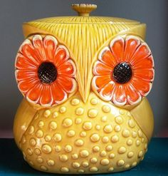 owl, colorful, funky, 1970s,  cookie jar, kitchen, pin, orange, yellow, by sophia