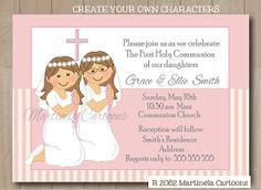 aab7cb709f1d0f8d2c2f4504fea2441f first communion invitations two girls first communion invitation shadow standing damask twins (boys,First Communion Invitations For Boy Girl Twins