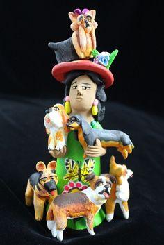 "Josephina Aguilar Market Lady Dogs Mexican folk art ""Crazy Dog Lady"" #2 pottery"