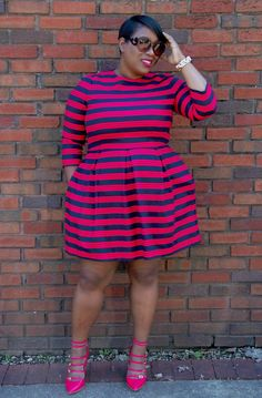 I love this plus size dress...I am in lust with stripes!