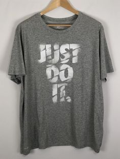 6fe3c7980299 Nike Dri Fit Tee XXL Just Do It Gray White T-Shirt 2XL NEW NWOT