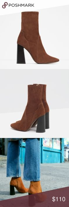ZARA BOOTS ZARA AUTHENTIC LEATHER BRAND NEW. You can see in the 3rd picture the only flaw it has on the bottom of the shoe. No trades. Please use the offer tool. Zara Shoes Heeled Boots