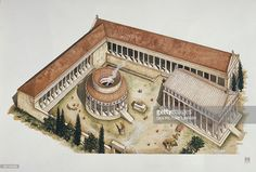 View top-quality illustrations of Illustration Representing Reconstruction Of Ceremonial Circular Tholos And Temple Of Asclepius Epidaurus Greece. Find premium, high-resolution illustrative art at Getty Images. Minoan, Gradient Color, Archaeology, Printing Process, Find Art, Framed Artwork, Giclee Print, Temple, Around The Worlds