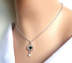 Chainmaille May birthstone necklace with Swarovski by NezDesigns, $25.00