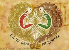 """Mo Chroi by Illahie. Two Celtic lovers, holding hands. The gaelic underneath their loving image reads; """"Tá mo chroí istigh ionat"""", which means """"my heart is within you""""."""
