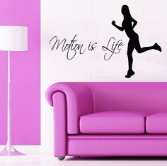 Woman Wall Decals Quote Motion Is Life Girl Runner Gym Sport Vinyl Decal Sticker Art Mural Kids Room Interior Design Living Room Decor KG852 by WallDecalswithLove on Etsy